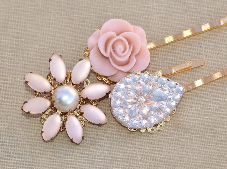 Genuine Vintage Blush Pastel Pink Bridal Bobby Pin Trio,Set of Three Gold Filigree Hair Pins,Pastel Blush Pink,Blush,Bridal,Wedding