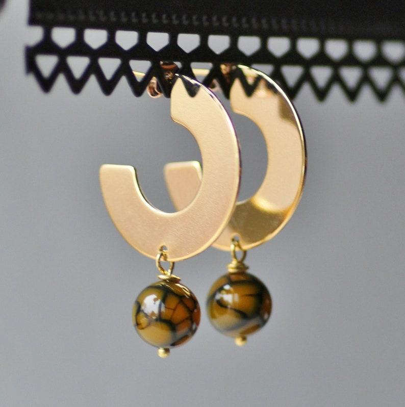 NEW Large Gold Hoop Gemstone Earrings,Flat Large Boho Tribal Hoop Earrings,Olive Green Crackle Agate,Dangle Drop Earring,Flat Circle Hoop