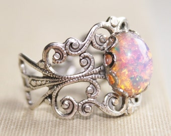 Vintage Silver Fire Opal Ring,Harlequin Opal,Silver Adjustable Filigree Ring,Opal Ring,Opal Jewelry,Antique,Birthstone,Fire Opal