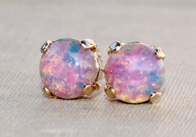 1fc713b96 SMALL Pink Fire Opal Studs Vintage Glass Fire Opal Post | Etsy