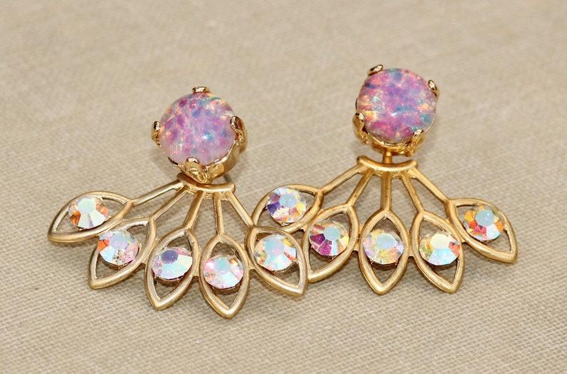 GORGEOUS Vintage Pink Fire Opal Earring Jacket,Pink Rainbow Opal /& Crystal AB Rhinestone Earring,Stud Post,Ear Jacket,Harelquin Opal,Unique
