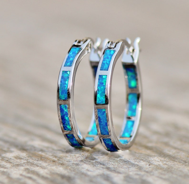 80dac13e33697 LIMITED STOCK Blue Green Opal Hoop Earrings,Lab Created Opal Endless  Hoop,Sterling Silver Small Hoop Earrings,Lab Created Opal,Teal Blue