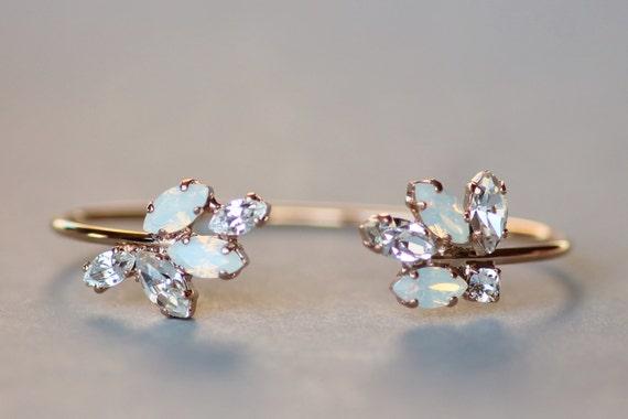 ROSE GOLD Swarovski White Opal Clear Marquise Bracelet,ROSE Gold Bridal Cuff Wrap Bracelet,Leaf Leaves,Marquise Navette,Bridal Cuff,Wedding