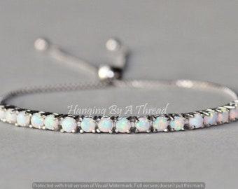 Sterling Silver White  Opal Bracelet,Opal Tennis Bracelet,Lab Created Opal,White Opal,Birthstone Jewelry,Womens Opal Jewelry,Adjustable