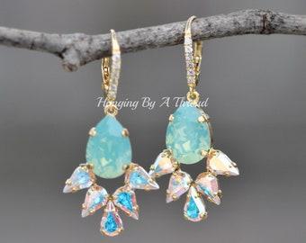 ALMOST GONE! Swarovski Pacific Opal Crystal AB Cluster Earrings,Pear Teardrop Drop Dangle,Gold Pave Earring,Aurora Borealis,Bridal,Bride