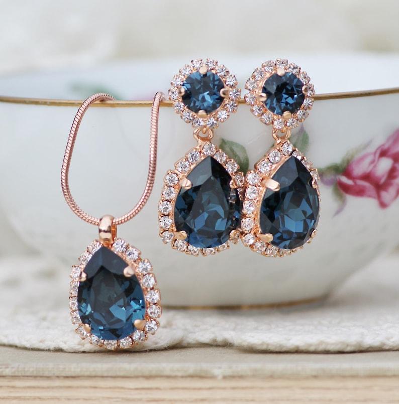 Sapphire Navy Blue ROSE GOLD Bridal Halo Set,Matching Necklace /& Earring Set,Halo Pear Teardrop,Swarovksi Crystal,Weddings,Gift Set,Womens
