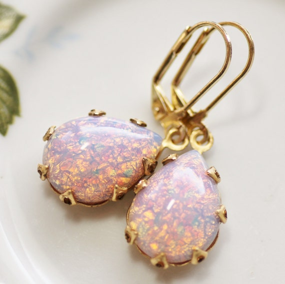 Vintage Pink Harelquin Opal ~ Small Earrings ~ Vintage Glass ~ Teardrop ~ multi stone ~ Victorian Boho Style ~ by LadyofTheLakeJewels