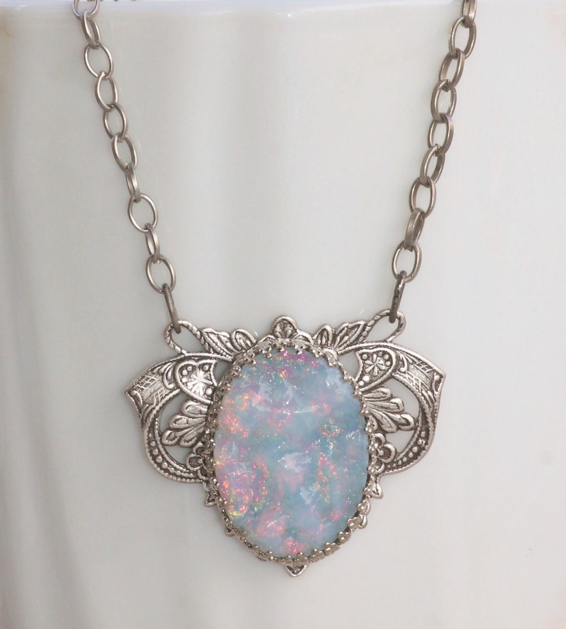 RARE Rainbow White Opal Cabochon NecklaceUNIQUE Vintage Glass image 0