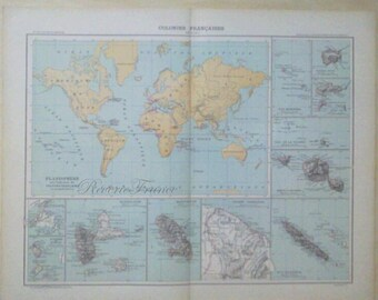 French colonies etsy antique world map 1890 large world map french colonies gumiabroncs Choice Image