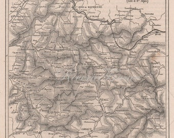 Antique French map from 1860 The Dauphine France, the Alps