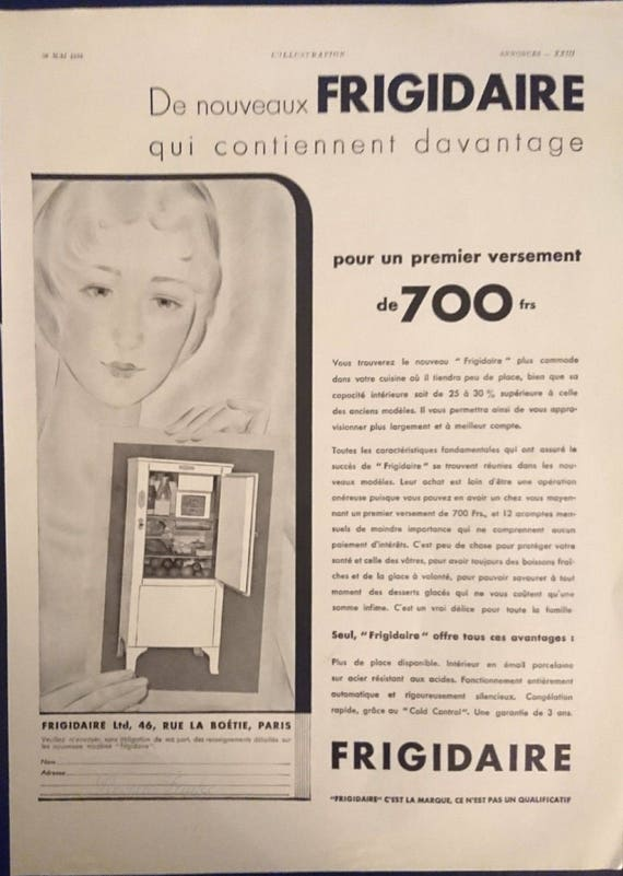 Items similar to Vintage French Ad Frigidaire 1932 on Etsy