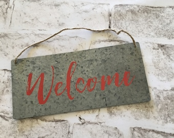 Red Welcome | Decorative Metal Sign