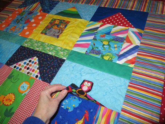 Pattern for Baby Quilt Tummy Time, Activity Play Mat, Lift the Flap and Find Animals, Unique, PDF Instant Download