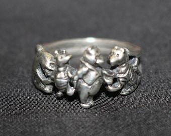 Super Cute Mini Winnie the Pooh Nostalgia Ring Lot 2 Vintage Winnie the Pooh Pooh Bear Themed Ring