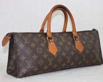 9a26e542c03e LOUIS VUITTON triangle leather monogram top handle satchel VINTAGE handbag  made france