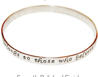 Personalized Bangle, Sterling Silver Message Bracelet, custom inscription jewelry, gift for her, engraved, quote, phrase, handmade, hammered