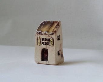 Miniature house tiny Tiny stoneware house Ceramic cottage Miniature ceramic house Enchanted fairy garden Terrarium decor Housewarming gift