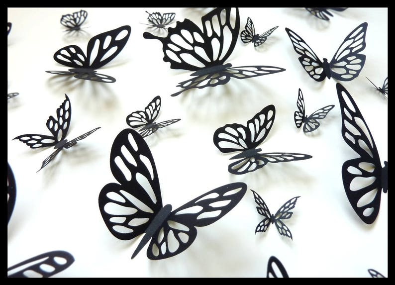 3d Wall Butterflies 20 Black Different Butterfly For Your Etsy