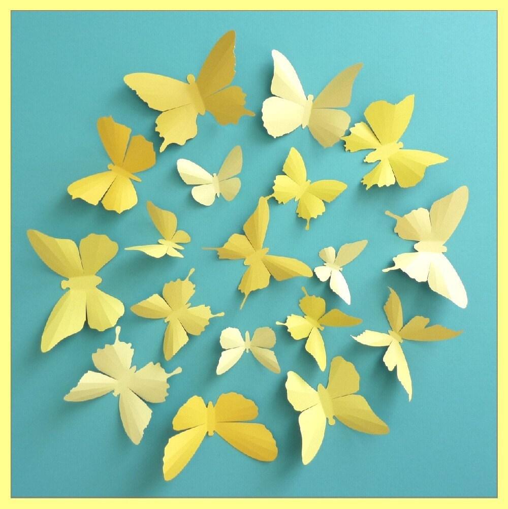 3D Wall Butterflies 15 Vanilla Mustard Lemon Gold Yellow | Etsy