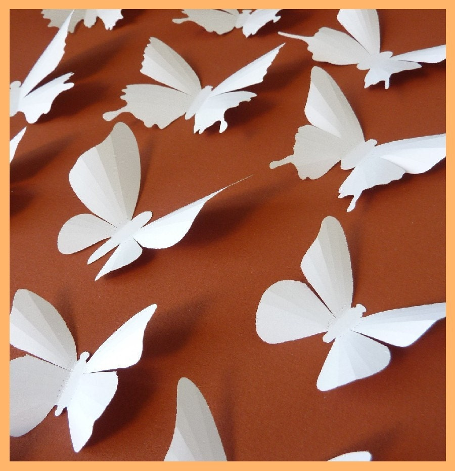 3D Wall Butterflies 15 White Butterfly Silhouettes Wedding   Etsy