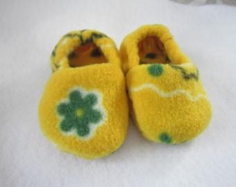 Yellow & Green floral fleece baby booties
