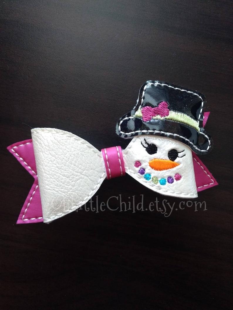 Snowman Christmas Cheer Hair Bow