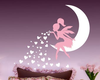Fairy Blowing Hearts wall decal, Nursery Art Nursery Decor Fairy, Fairy Wall Decal sticker, Babys Room Fairy wall decor, girls room decor