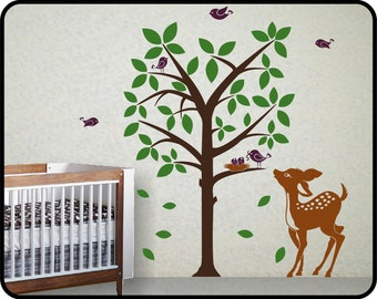"""Baby deer Vinyl Wall Art Decals for Baby Nursery Room Decor w/ Friends of the Forest,  68"""" x 68"""""""