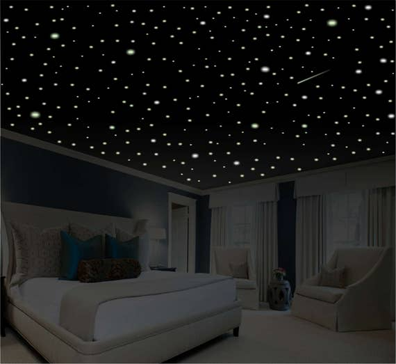 Romantic Bedroom Decor Star Wall Decal Glow in the Dark | Etsy