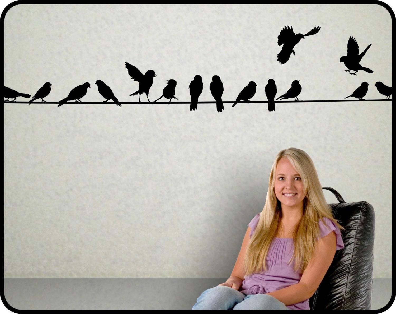 BIRDS ON A WIRE wall decal 12 Feet Long vinyl wall sticker