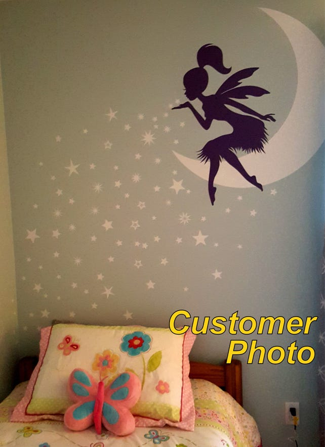 Fairy Wall Decal Fairy Blowing Stars Wall Decal Fairy Etsy