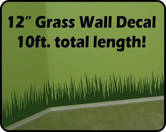 grass wall decal border 12 tall x 120 long   etsy