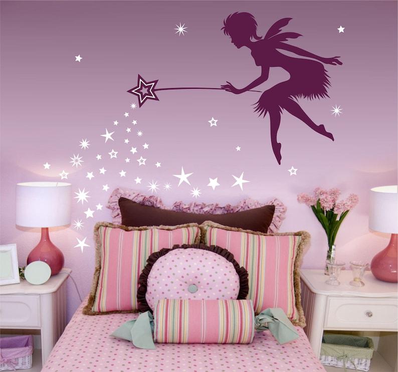 fairy art fairy decor pixie dust star wand wall decal | etsy