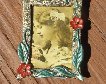 """Brass Mini Easel back Antique  Viictorian Frame decorated with flowers & leaves or Brooch Gift idea 2 1/8"""" x 1 5/8""""."""