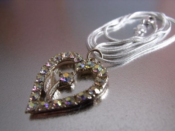 Sale Czech glass heart pendant and silver plated s