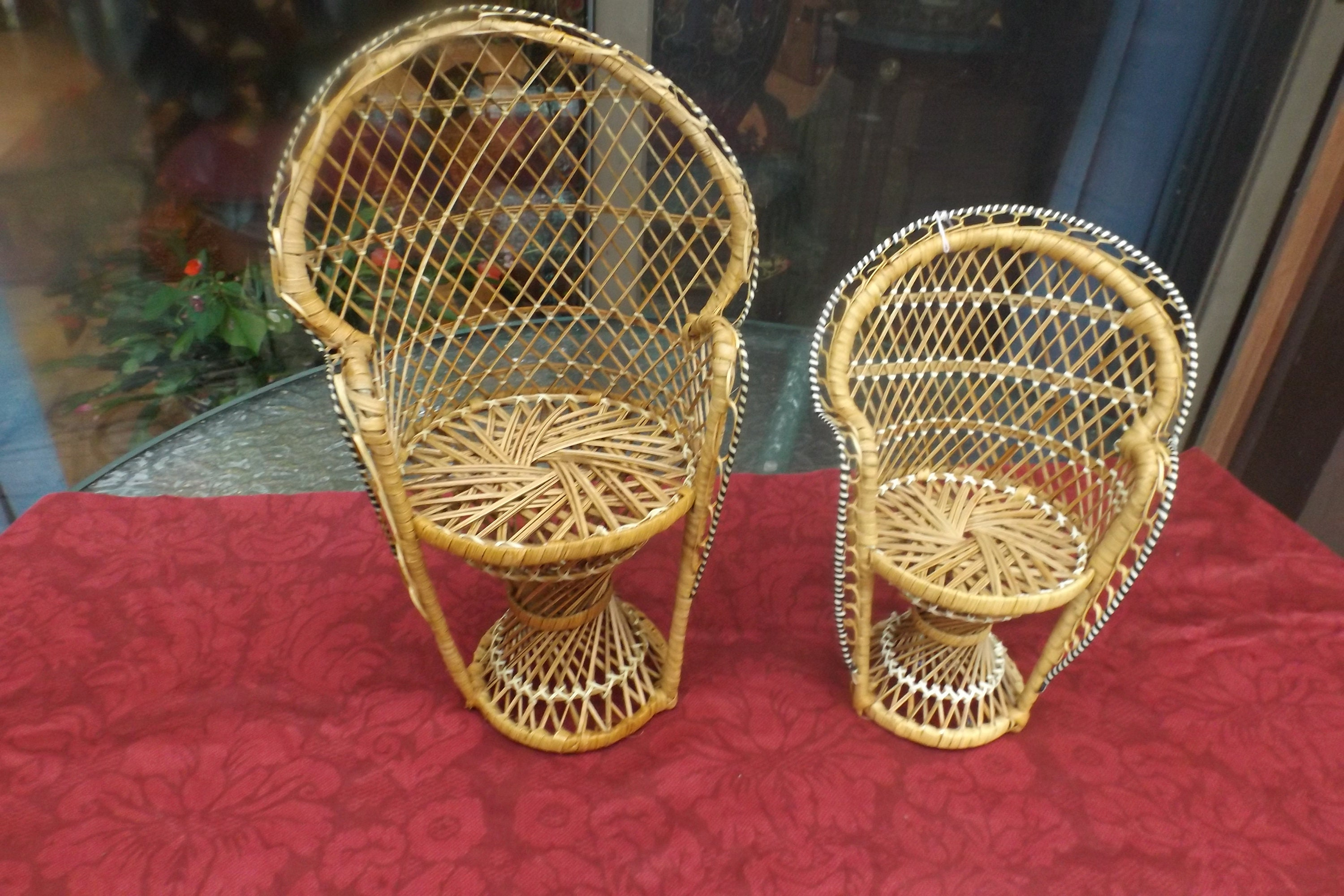 Vintage Wicker High Back Peacock Chair For Dolls Doll House Choice High Chair Smaller Chair Or Both Gift Idea