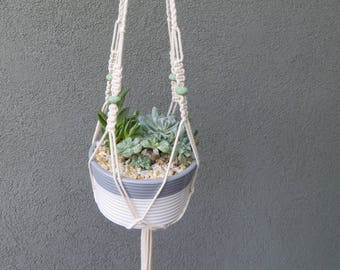 Spring Sale, Macrame Plant Hanger, Medium Size - Lava Beads (Choose your color), Cotton Twine, 32 inches / 81 cm's in length