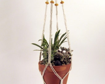 Macrame Plant Hanger, Medium Size - Lava Beads, (Choose Your Color), Cotton Twine, 32 inches/81cm's