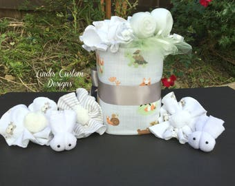Woodland Adventures Diaper Cake, Forest Diaper Cake, Woodland Forest Baby Gift, Forest Animals Baby Shower Table Centerpiece, Neutral Baby