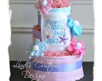 Mermaid Diaper Cake, Mermaid Baby Shower Gift Cake Table Centerpiece, Mermaid Kisses and Starfish Wishes Burp, Embroidered Diaper Cake