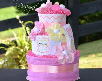 Girl Diaper Cake, Girl Baby Shower Centerpiece Decor, Owl Woodland Animals Diaper Cake Gift, Embroidered Personalized Diaper Cake Gift