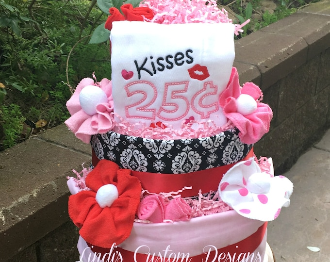 Diaper Cake, Baby Shower Diaper Cake Gift Centerpiece, Baby Love Kisses Embroidered Baby Gift