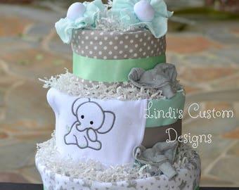 Elephant Baby Shower, Neutral Diaper Cake, Elephant Diaper Cake, Mint Green Gray Diaper Cake, Baby Shower Table Centerpiece, Gender Neutral