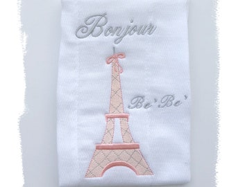 Girl Burp Cloth, Embroidered Girl Burp Cloth, Paris Baby Gift, Pink Gray Baby Gift, Bonjour Be Be, French Baby Gift, Girl Baby Shower Gift