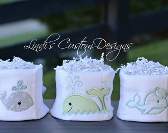 Whale Baby Shower Table Decor Set, Embroidered Whale Mini Diaper Cake Shower Centerpieces, Neutral Baby Showe Table Decor, Mint Grey Aqua