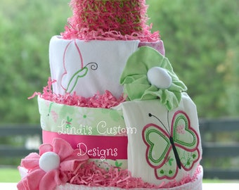 Girl Diaper Cake, Butterfly Diaper Cake, Pink Green Diaper Cake, Girl Butterfly Baby Shower Table Centerpiece Diaper Gift, Unique Baby Gift