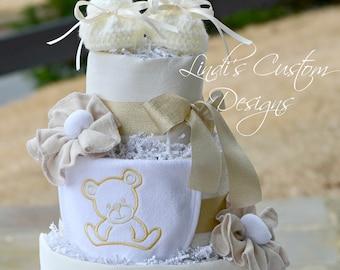Neutral Diaper Cake, Ivory Cream Gold Teddy Bear Theme Diaper Cake Table Centerpiece, Neutral Baby Shower Ivory Cream Gold Table Centerpiece