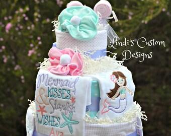 Diaper Cake Girl, Mermaid Diaper Cake, Embroidered Baby Gift, Baby Shower Gift, Baby Shower Table Centerpiece, Under the Sea Diaper Cake