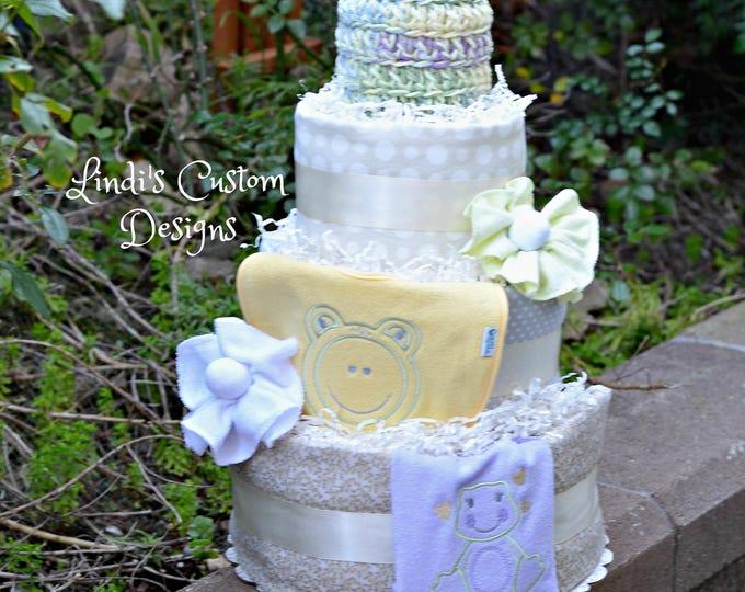 Girl Diaper Cake, Pastel Diaper Cake, Frog Diaper Cake, Girl Baby Shower Table Centerpiece Gift, Girl Baby Gift, Corporate Baby Gift