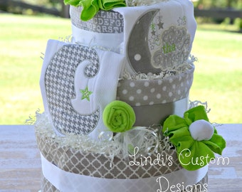 Neutral Baby Shower, Over the Moon Diaper Cake, Nursery Rhyme Diaper Cake Table Centerpiece, Neutral Baby Shower Diaper Cake, Wynken Blyken